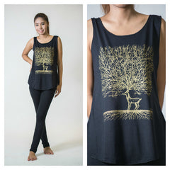 Super Soft Womens Bambi Tree Tank Top Gold on Black