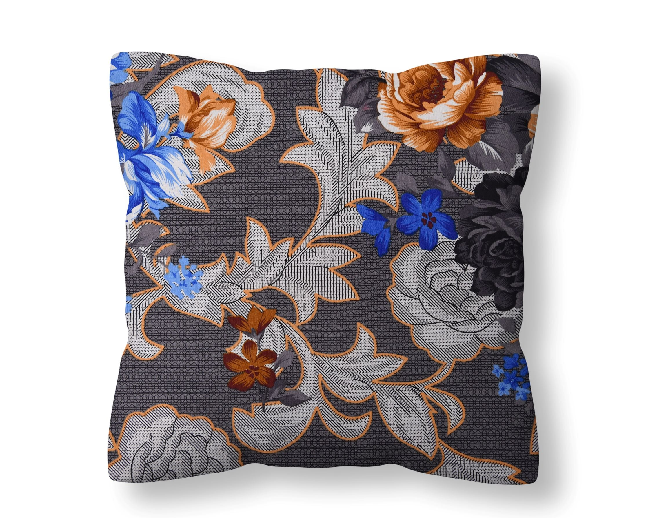 Midnight Blue Flowery Cushion Cover