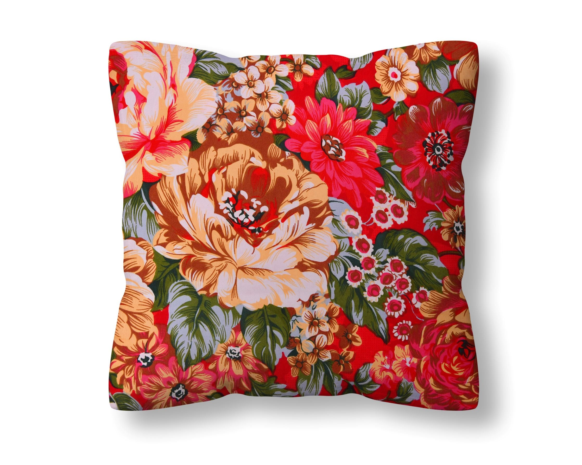 Firebrick Flowery Cushion Cover