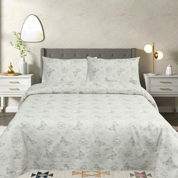 Grey Decor Butterfly Cotton Bed Sheet