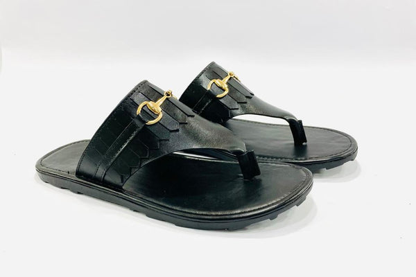 Premium Black Casual Slippers with Buckle