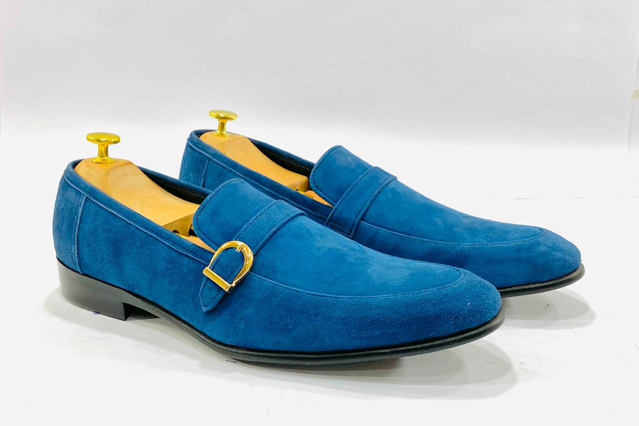 Sapphire Blue Suede Leather Shoe