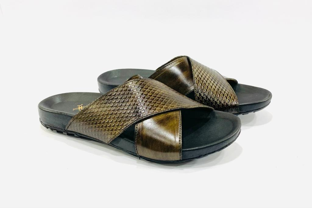 Imperial Hazel Leather Slippers
