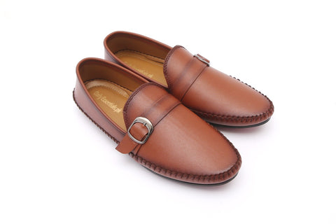 Brown Two Tone Side Buckle Moccasins - Daily Essentials