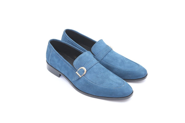 Blue Leather Suede with Leather Sole