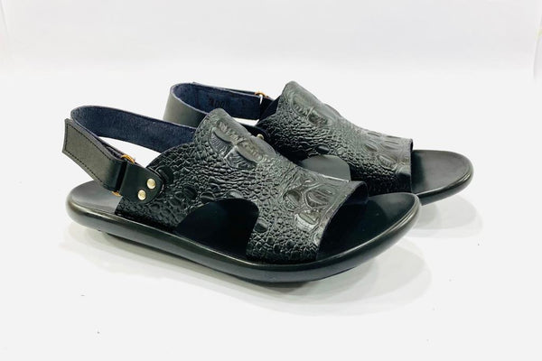 Textured Premium Black Leather Sandals