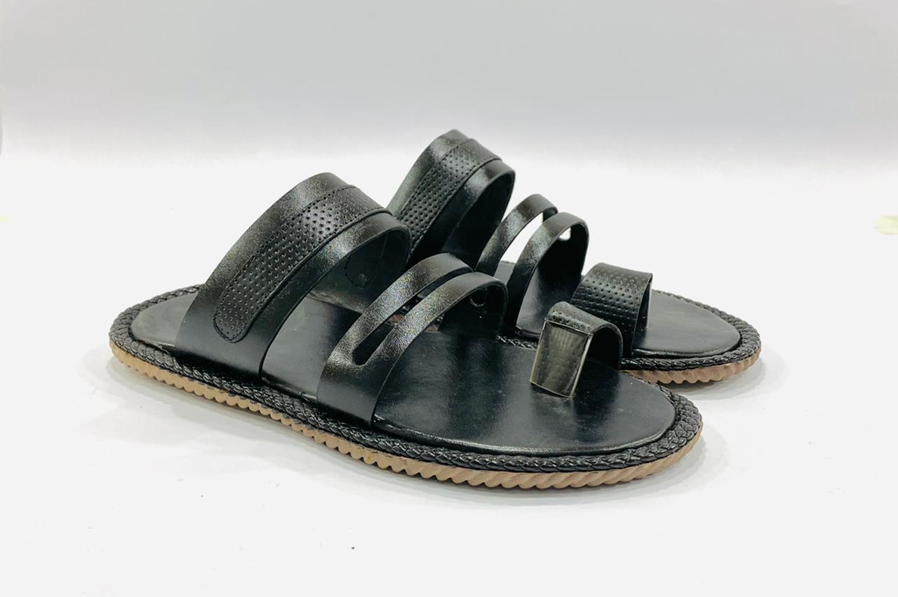 Classic Black Leather Slippers