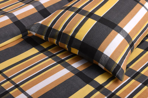 Ocher Stripe Bed Sheet Set