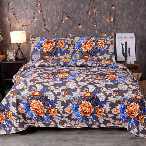 Midnight Blue Flowery Cotton Bed Sheet