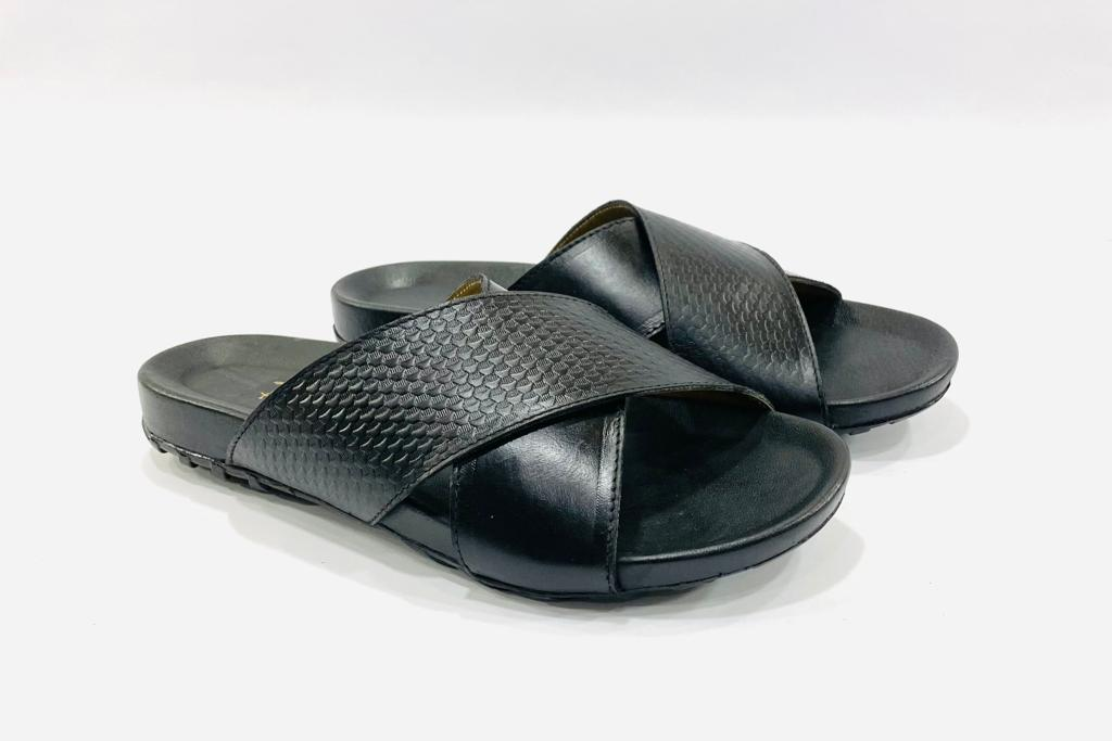 Imperial Black Leather Slippers