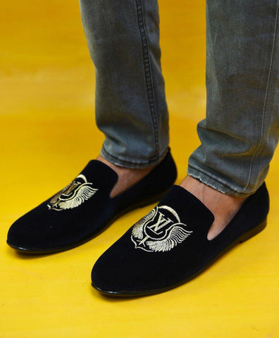 LV Golden Embroidery Shoe - Dark Navy Blue - Daily Essentials