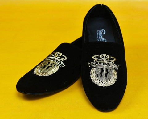 Black Royal Billionaire Embroidered Shoe - Daily Essentials