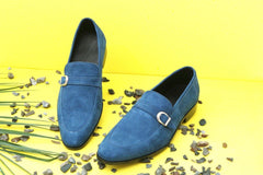 Blue Leather Suede with Leather Sole - Daily Essentials