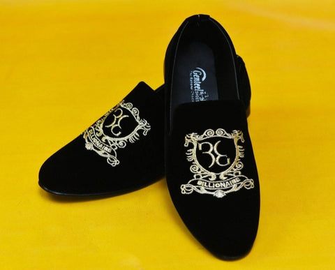 33 Billionaire Black Embroidered Shoe - Daily Essentials