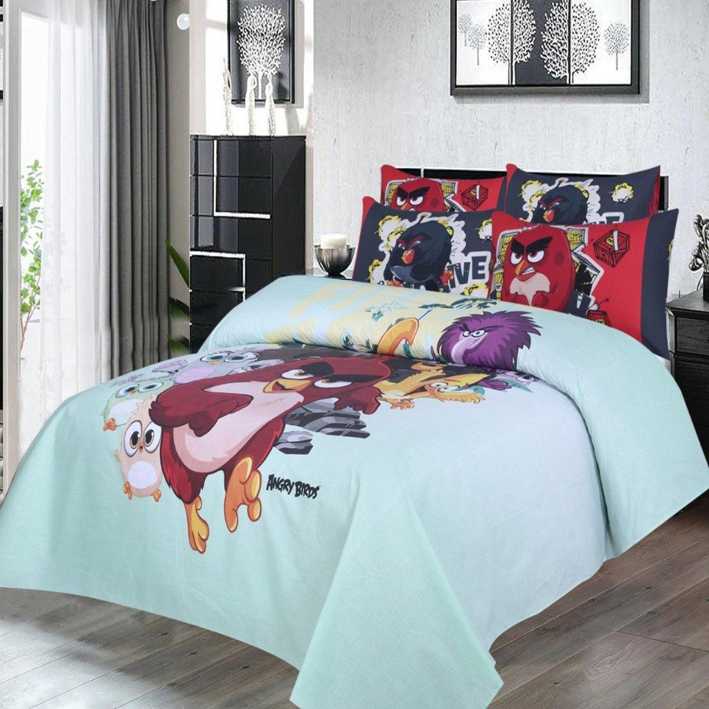 Angry Birds - 100% Cotton Bed Sheet (4 Pillows) - Daily Essentials