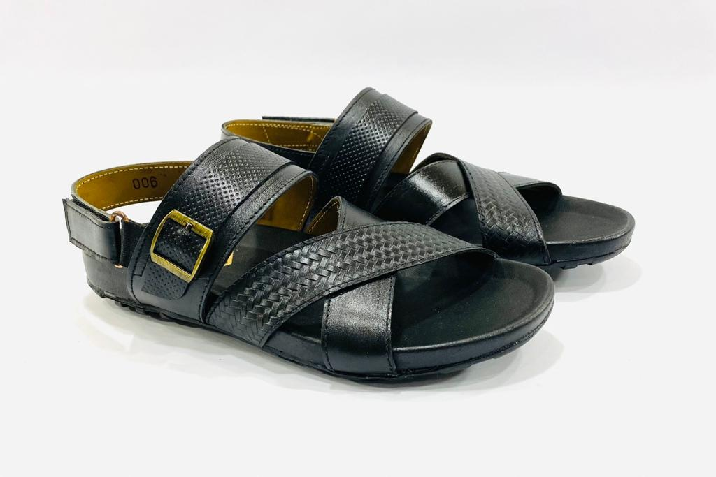 Cross Over Black Leather Sandals