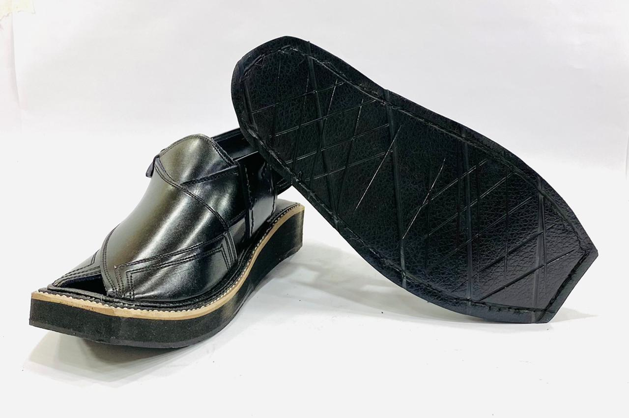 Kaptaan Black Leather Sandals
