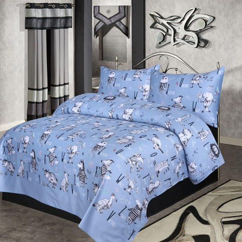 De Azure Cartoon Prints - Satin Cotton - Daily Essentials