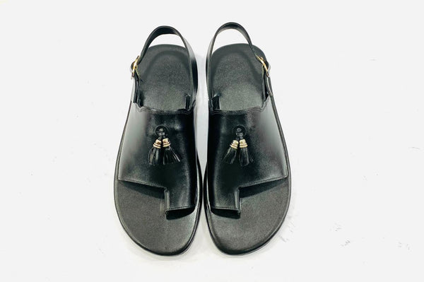 Royal Black Leather Sandals