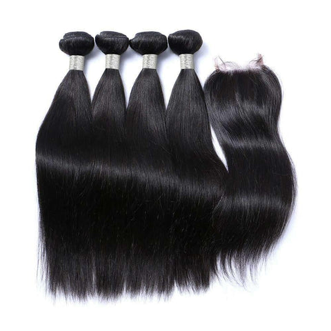 Straight Bundle Deal With Lace Closure