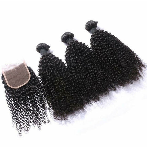 Curly Bundle Deal With Lace Closure