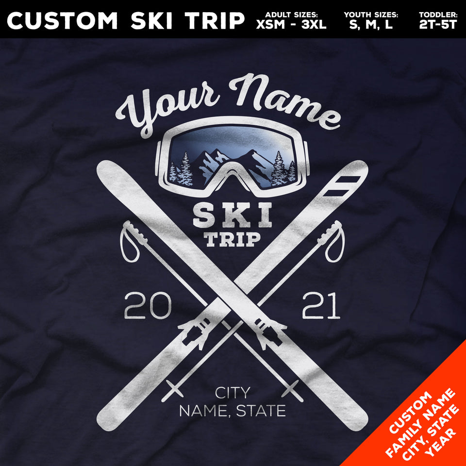 Ski Goggles Long Sleeve Shirts. Snow Skiing Trip Shirts for Families and Group Trip Vacations