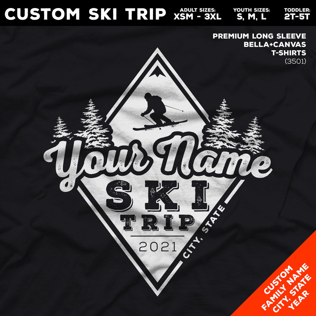 CUSTOM Snow Ski Trip Long Sleeve Premium T-Shirts - Diamond Snow Ski Design (6 Colors)