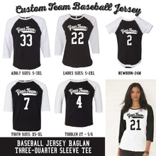 Load image into Gallery viewer, CUSTOM Raglan - Team or Family Vintage Baseball Jerseys (18 Colors)