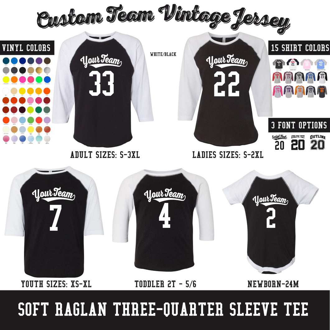 CUSTOM Raglan - Team or Family Vintage Baseball Jerseys (18 Colors)