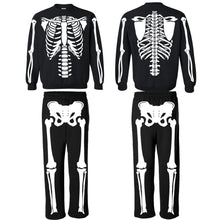 Load image into Gallery viewer, Glow In The Dark Skeleton Costume Sweatshirt and Sweatpants for Men, Women, and Kids.