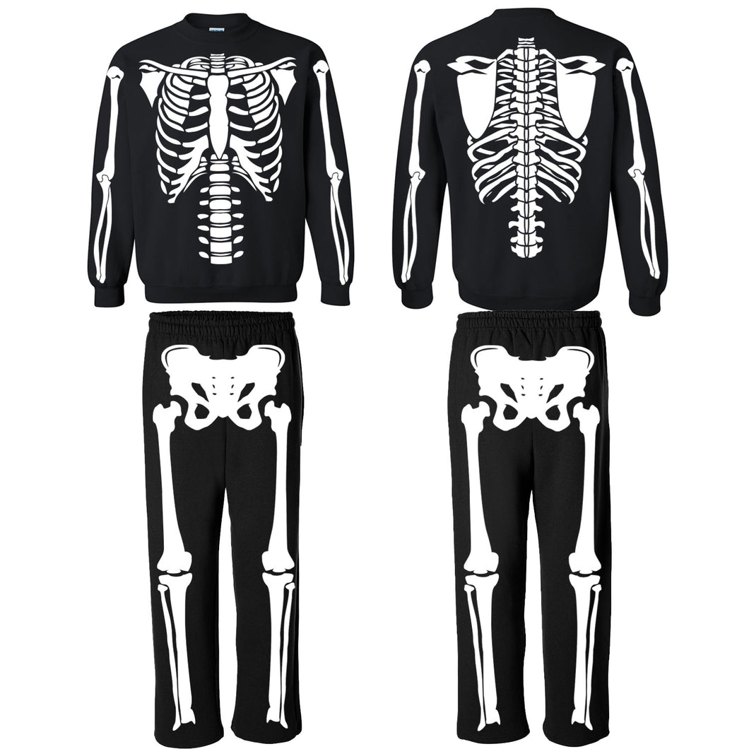 Glow In The Dark Skeleton Costume Sweatshirt and Sweatpants for Men, Women, and Kids.