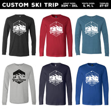 Load image into Gallery viewer, Custom Snow Skiing Long Sleeve T-shirts - For Family or Group Ski Trips (6 Colors)