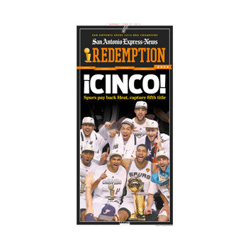 2014 NBA Champions Front Page ¡CINCO! Poster