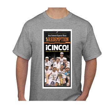 "2014 NBA Champions Front Page ""¡CINCO!"" Champions Shirt"