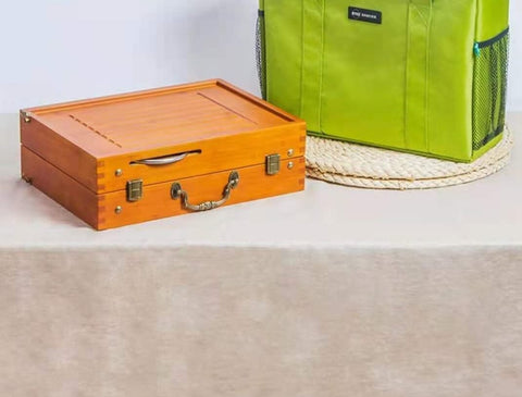 Outdoor ceramic folding tea box with gas stove kettle
