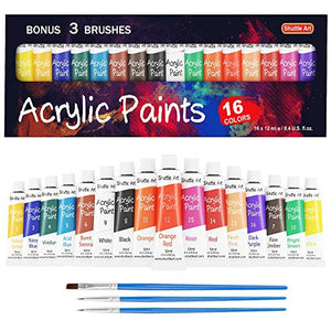 Acrylic Paint Set, Shuttle Art 16 x12ml Tubes