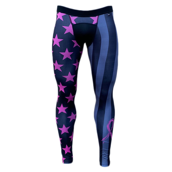 Shadow USA Flag - Breast Cancer Awareness Compression Tights