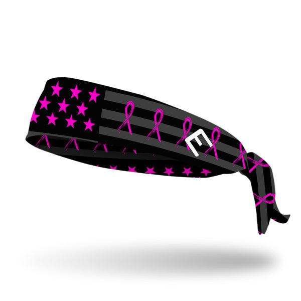 Shadow USA Flag - Breast Cancer Awareness Tie Headband