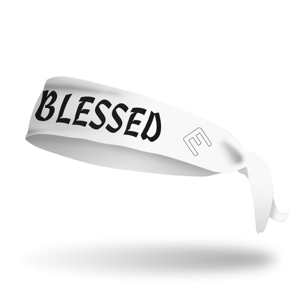 White BLESSED Tie Headband