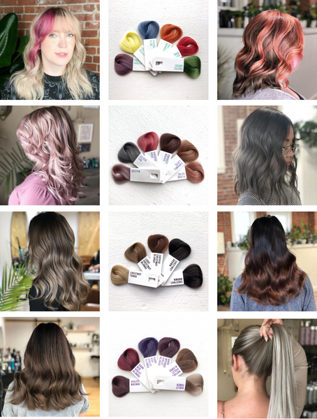 Photo grid showing custom colour conditioner results on varying hair tones