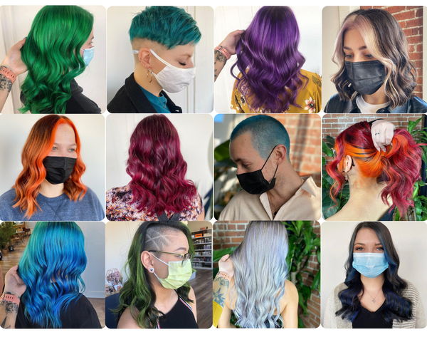 Collage of vivid hair colours by Kami Fortier