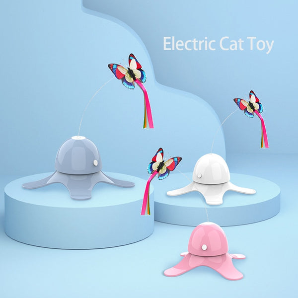 Rotating Colorful Butterfly Cat Toy
