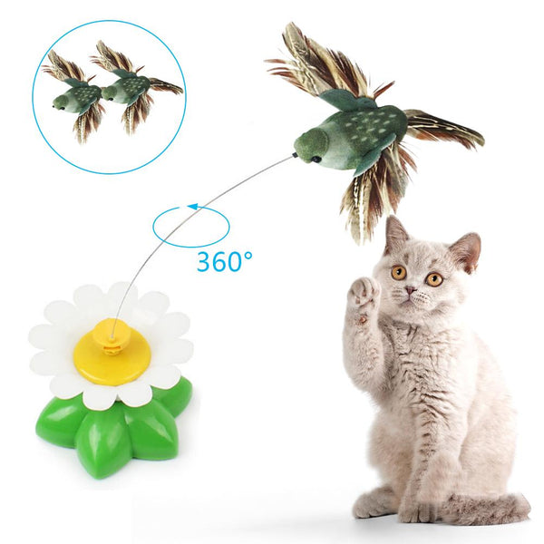 Rotating  Cat Toy with Bird or Butterfly