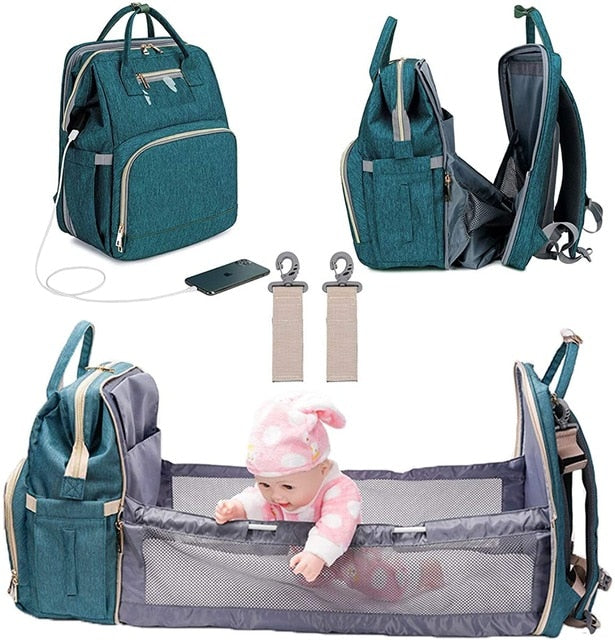 3 In 1 Diaper Bag/Backpack or Tote, Foldable, Waterproof, USB Charger