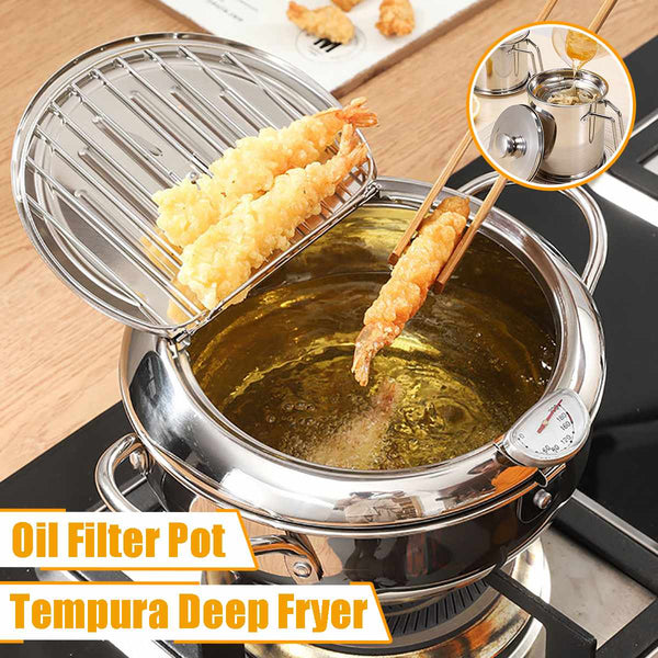 Tempura Deep Frying Pot w/ Thermometer and Oil Filter Pot (sold separately)