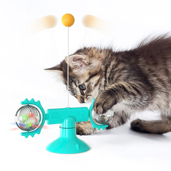 Interactive Cats Toys With Catnip Feather Windmill