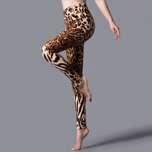 Stripe Leopard Print Leggings