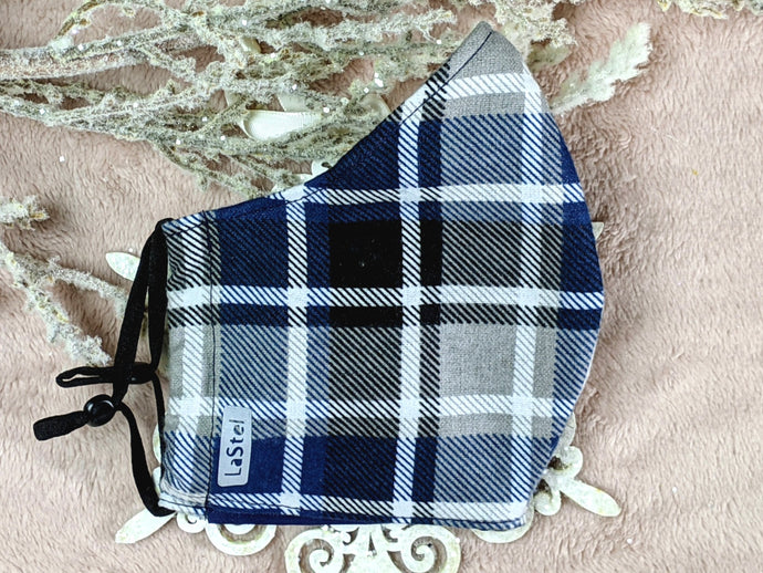 Blue Gray and Black Flannel Mask