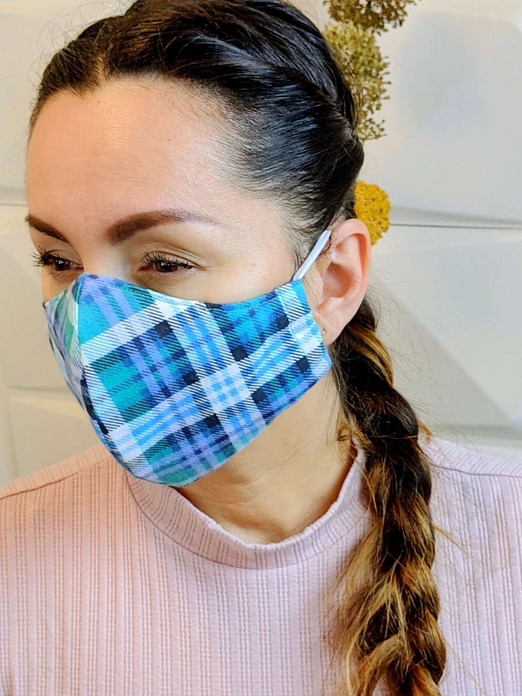 Blue Green Flannel Face Mask