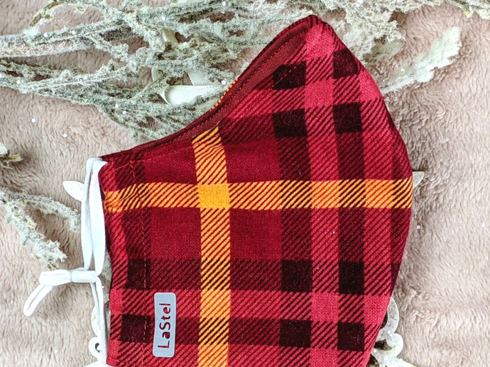 Red Orange Flannel Mask